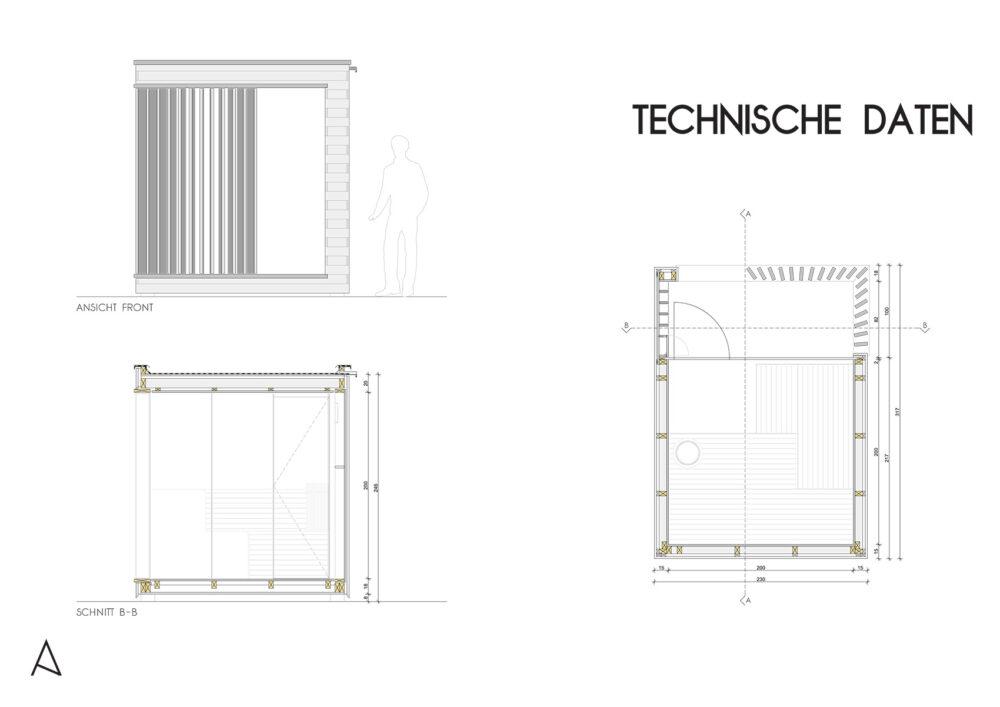 Outdoor Sauna Visualisierung Technische Daten