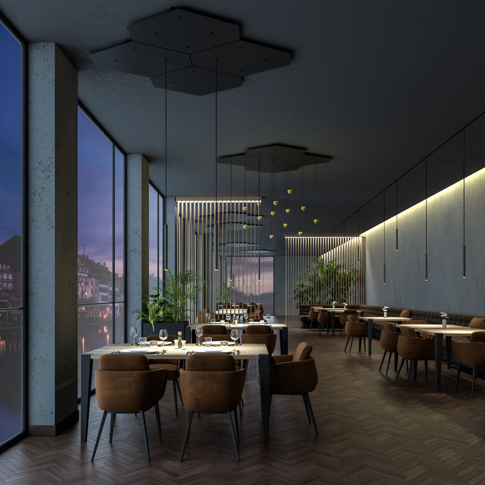 Innenraum Set Design Rendering Restaurant H.