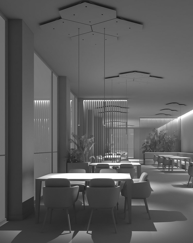 Interior Set Design Rendering Restaurant H.