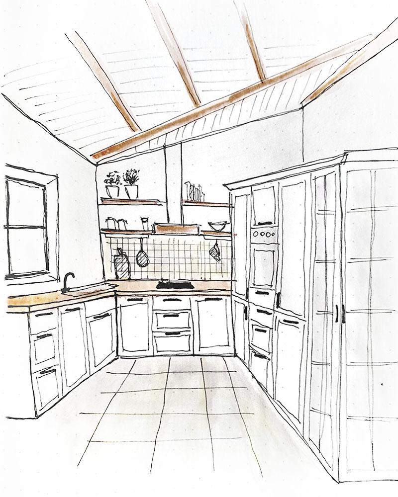 Landhausküche Skizze