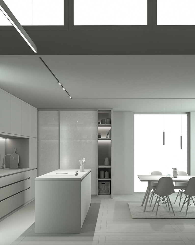 Wohnzimmer M. 3D Modell Rendering