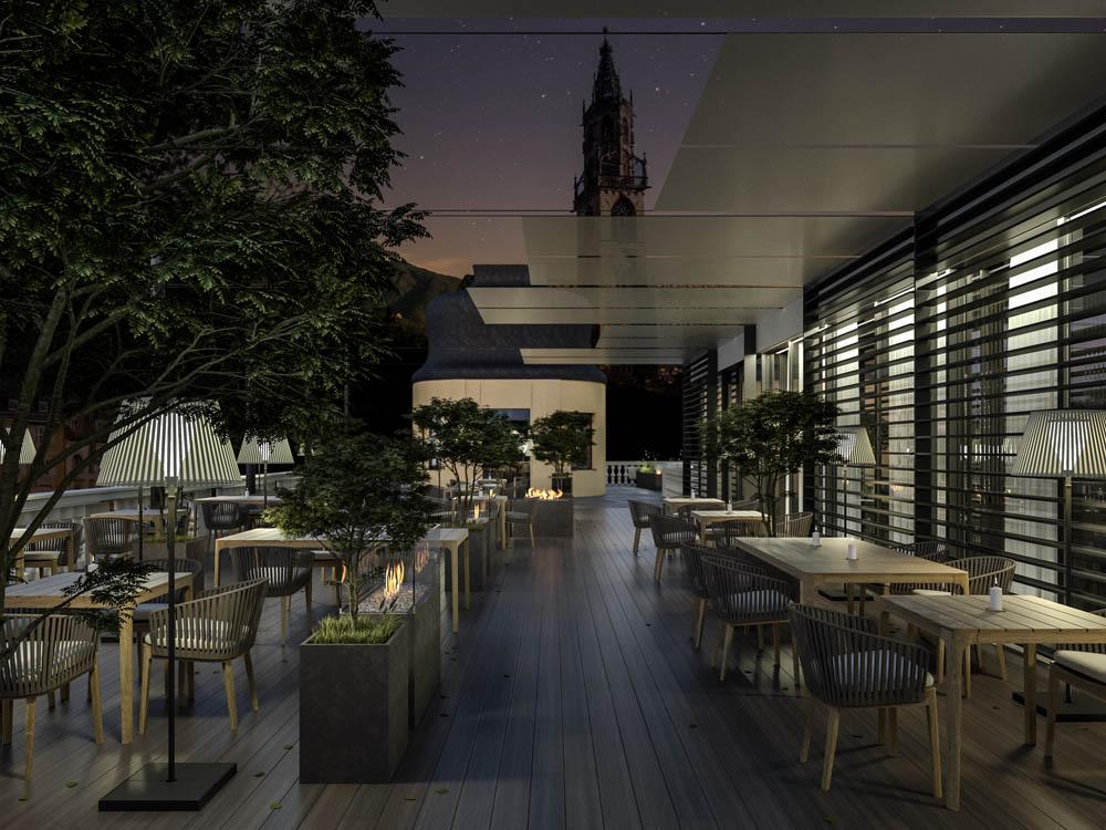 Außenraum Gestaltung Palais Campofranco Restaurant Terrasse